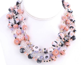 """Laura Appelman """"Mid-Century Modern"""" Long Double Strand Polymer Clay Beaded Necklace"""