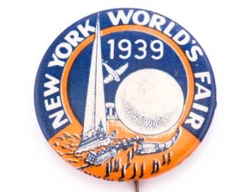 Vintage 1939 New York World's Fair Lapel Pin Button