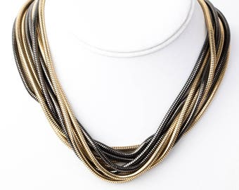 Vintage Givenchy Gold Tone and Gunmetal Multi Strand Statement Necklace