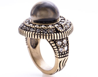 "Estate Heidi Daus ""Two Fab"" Smoky Topaz Glass and Crystal Accented Ring Size 6"