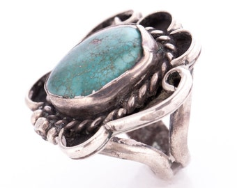 Vintage Russ Rockbridge Navajo Sterling Silver and Turquoise Ring Size 3.5