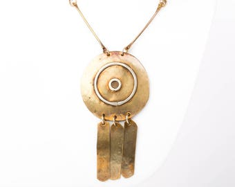 Rare Vintage Lillo Handcrafted Mid Century Modernist Brass Necklace