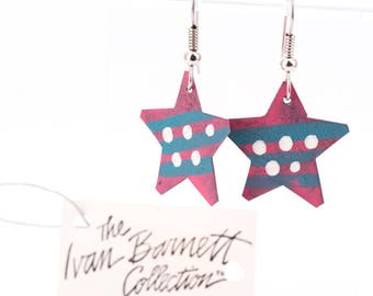 Vintage Ivan Barnett Hand Painted Folk Art Star Earrings