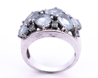 Vintage Sterling Silver and Blue Topaz Cocktail Ring Size 6