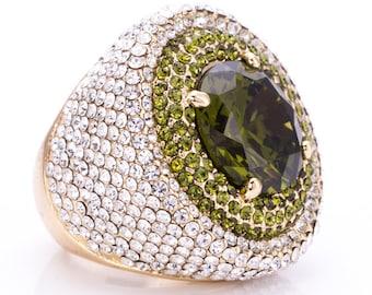 Estate Joan Boyce Emerald Rhinestone Statement Ring Size 5.75