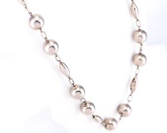 Vintage Mexican Alpaca Silver Beaded Necklace