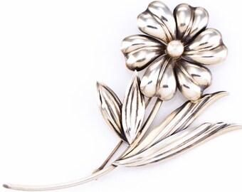Vintage Vermeil Sterling Silver and Pearl Flower Brooch