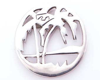 Vintage Bill Schiffer Sterling Silver Palm Tree Brooch