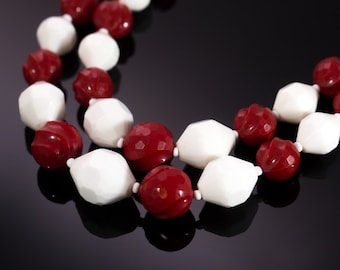 Vintage Western Germany 1960's Red and White Double Strand Lucite Beaded Necklace