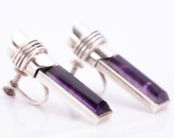 Vintage Antonio Pineda Silver and Amethyst Modernist Earrings