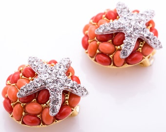 Vintage Kenneth Jay Lane Coral Cabochon and Pave Crystal Starfish Clip Earrings
