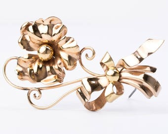Vintage Aregel 12K Yellow and Rose Gold Filled Flower Brooch
