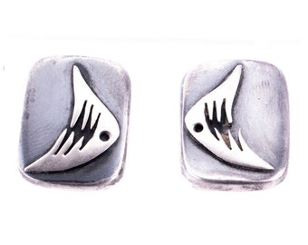 Vintage Enrique Ledesma Mid Century Sterling Silver Abstract Fish Screw Back Earrings
