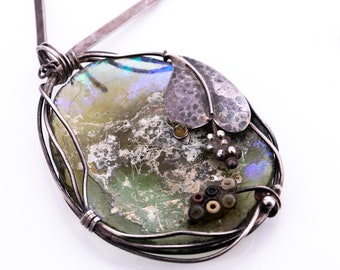 Vintage Artisan Made Sterling Silver Glass Pendant Necklace