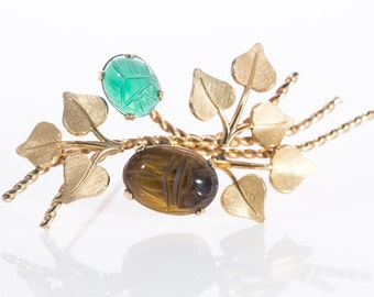 Vintage VanDell 12K Gold Filled Chrysophase and Tiger's Eye Scarab Brooch