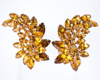 Vintage Citrine Rhinestone Clip Earrings