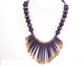 Vintage Artisan Made Purple Wood, Resin, and Base Metal Statement Necklace