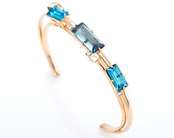 Estate Alexis Bittar Jeweled Skinny Cuff Bracelet