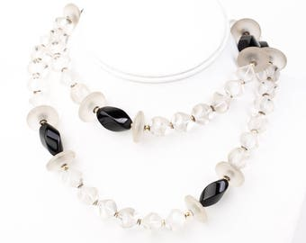 Vintage Art Deco Hand Carved Rock Crystal and Black Glass Beaded Necklace