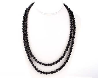 Vintage Hobé Double Strand Faceted Jet Beaded Necklace