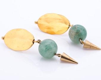 Vintage Roz Balkin Modernist Jade Statement Earrings