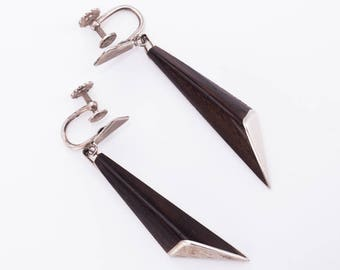 RARE Vintage Esther Lewittes Sterling Silver and Ebony Wood Modernist Earrings