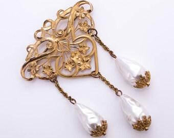 Vintage Miriam Haskell Art Nouveau Baroque Pearl Brooch
