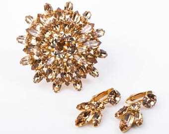 Vintage Regency Rhinestone Brooch and Clip Earring Set