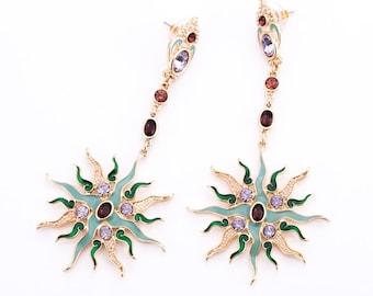 Estate Rhinestone, Enamel, and Seed Pearl Sunburst Statement Earrings