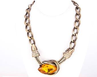 Vintage Wilma Spagli Modernist Rhinestone Curb Link Statement Necklace