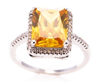 Ladies Sterling Silver Citrine Glass Statement Fashion Ring Size 7.75