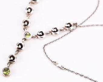 """Estate Zina Beverly Hills Sterling Silver and Peridot """"Swirl"""" Necklace"""
