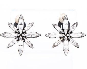 Vintage Butler & Wilson Crystal Starburst Clip Statement Earrings