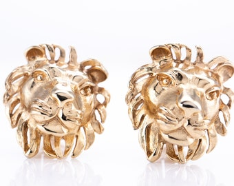 Vintage Donald Stannard Gold Plated Lions Head Clip Statement Earrings