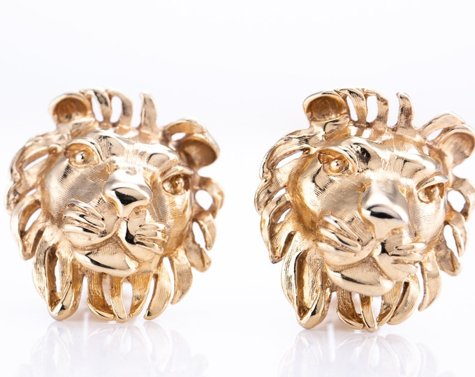 Featured listing image: Vintage Donald Stannard Gold Plated Lions Head Clip Statement Earrings