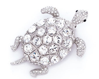Estate Princess Amanda Borghese Crystal Rhinestone Turtle Brooch