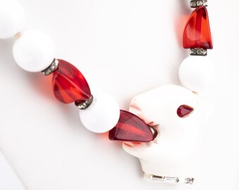 Vintage Angela Caputi White and Ruby Lucite Beaded Panther Head Statement Necklace