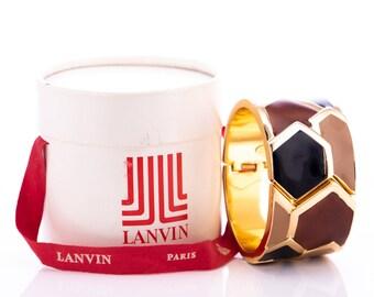 Vintage Lanvin Modernist Enamel Hinged Cuff Bracelet