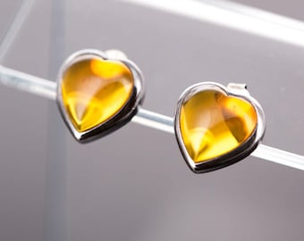 Vintage Janice Girardi Sterling Silver and Amber Heart Earrings