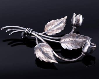 Vintage S. Christian Fogh Sterling Silver Rose Brooch