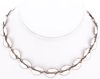 Vintage David Andersen Willy Winnaess Designed Sterling Silver Guilloche Enamel Double Leaf Choker Necklace