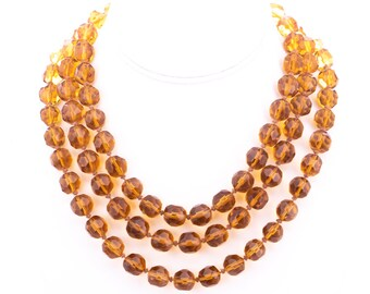Vintage Faceted Amber Glass Beaded Endless Strand Necklace