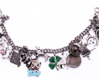 Vintage Sterling Silver Charm Bracelet with 20 Sterling Charms