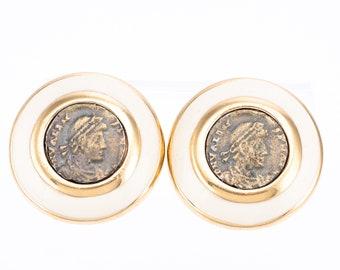 Vintage Ciner 18K Gold Plated Enamel Faux Roman Coin Clip Earrings