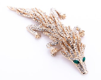 Estate Rhinestone Encrusted Articulated Dragon Brooch