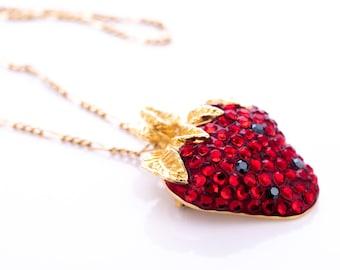 Vintage Suzanne Bjontegard Ruby Rhinestone Strawberry Pendant Necklace/Brooch