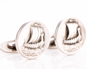 Vintage Georg Jensen Sterling Silver Viking Ship Cufflinks No. 50 Designed by Harald Nielsen