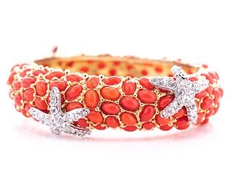 Vintage Kenneth Jay Lane Coral Cabochon Rhinestone Starfish Hinged Bangle Bracelet
