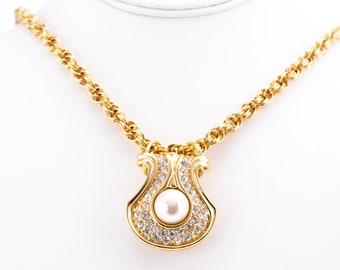 Vintage Nolan Miller Rhinestone Faux Pearl Shell Pendant and Chain Necklace