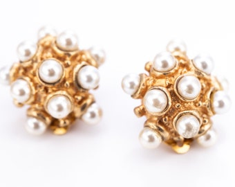 Vintage Gold Plated Faux Pearl Sputnik Clip Statement Earrings